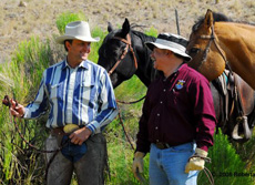 Ranch Manager Stacy Davies (L) and U.S. Fish and Wildlife Service's Assistant Director of Endangered Species, Bryan Arroyo on Roaring Springs Ranch in Frenchglen, Oregon.